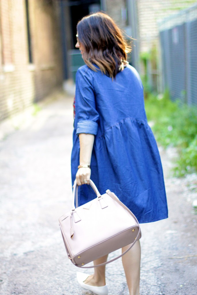 oversized chambray dress, itsy bitsy indulgences