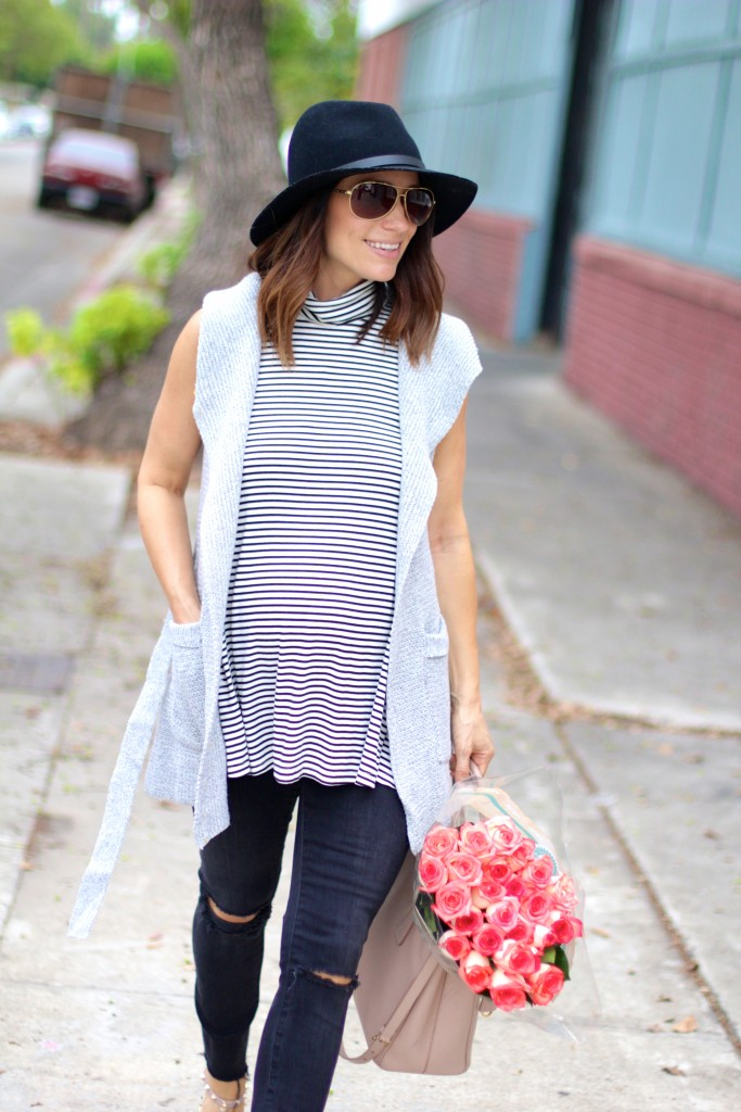 baby bump style, stripe top ,itsy bitsy indulgences