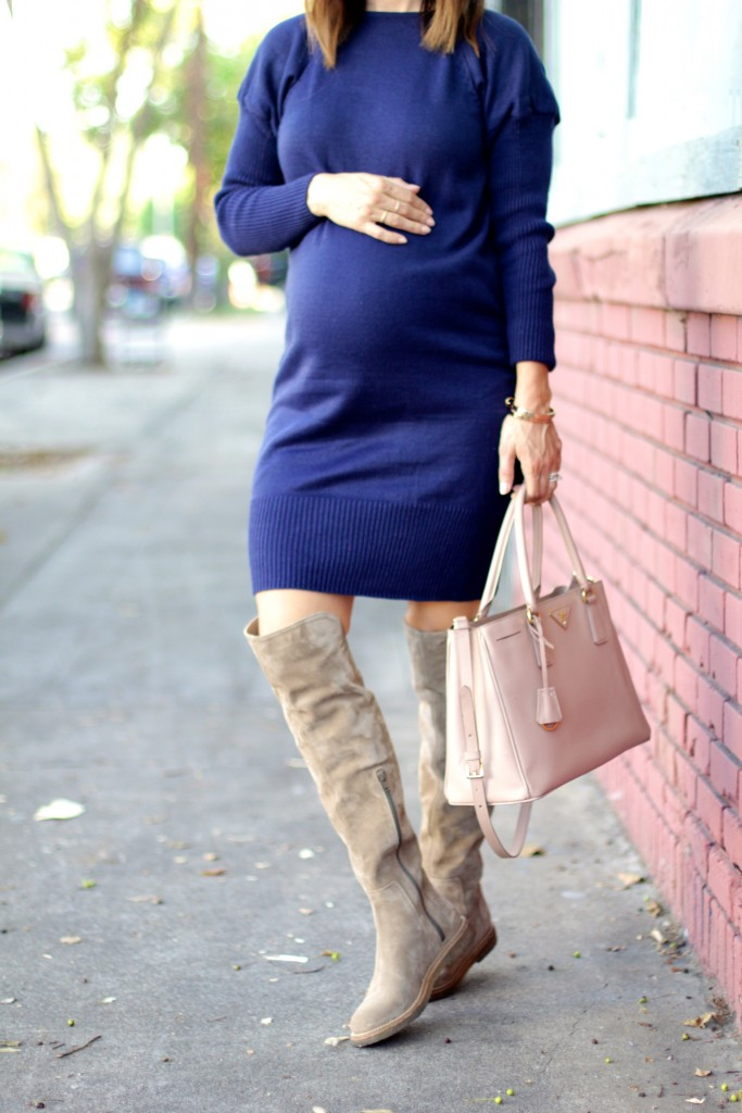 over the knee boots, baby bump style, itsy bitsy indulgences
