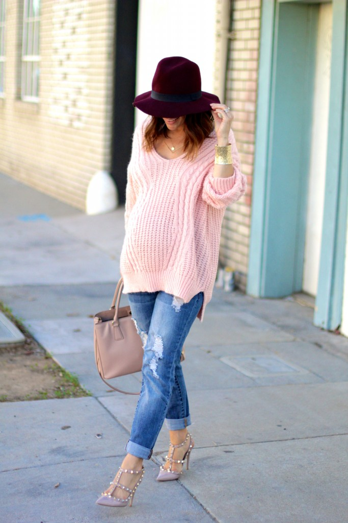 blush chicwish sweater, fall outfit, itsy bitsy indulgences