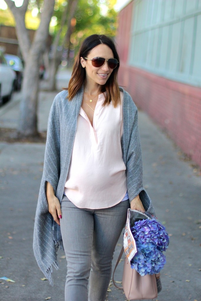 blush and grey outfit, itsy bitsy indulgences
