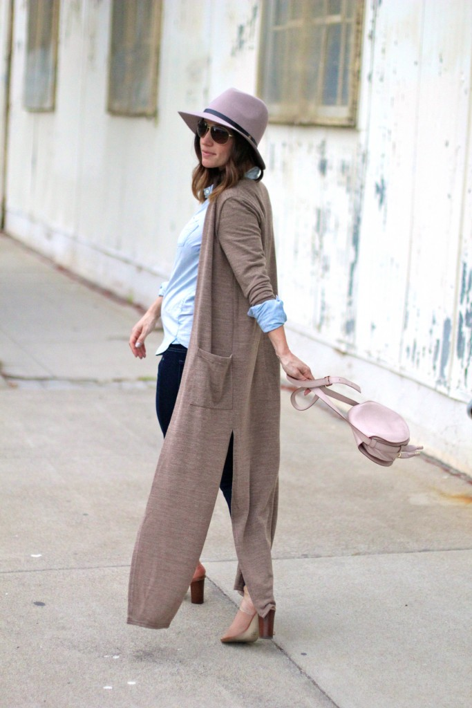 long camel cardigan, pregnancy style, itsy bitsy indulgences