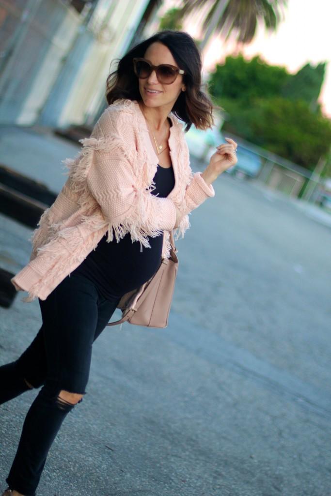 pregnancy style, pink fringe jacket, itsy bitsy indulgences