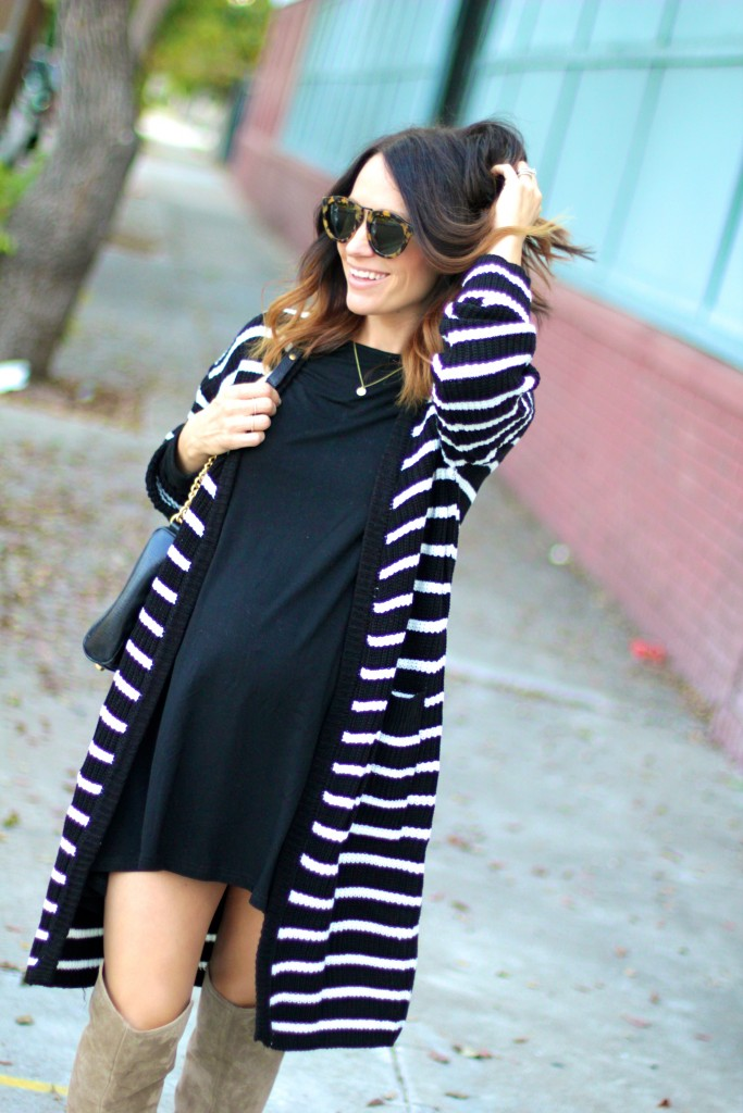 baby bump style, black and white cardigan