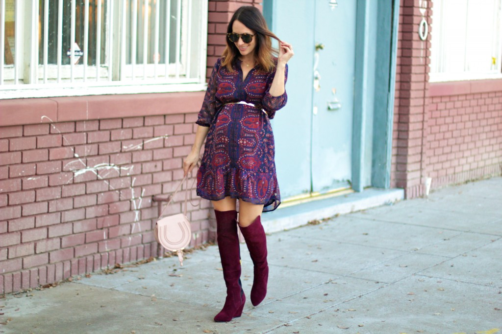fall dress with over the knee boots, itsy bitsy indulgences