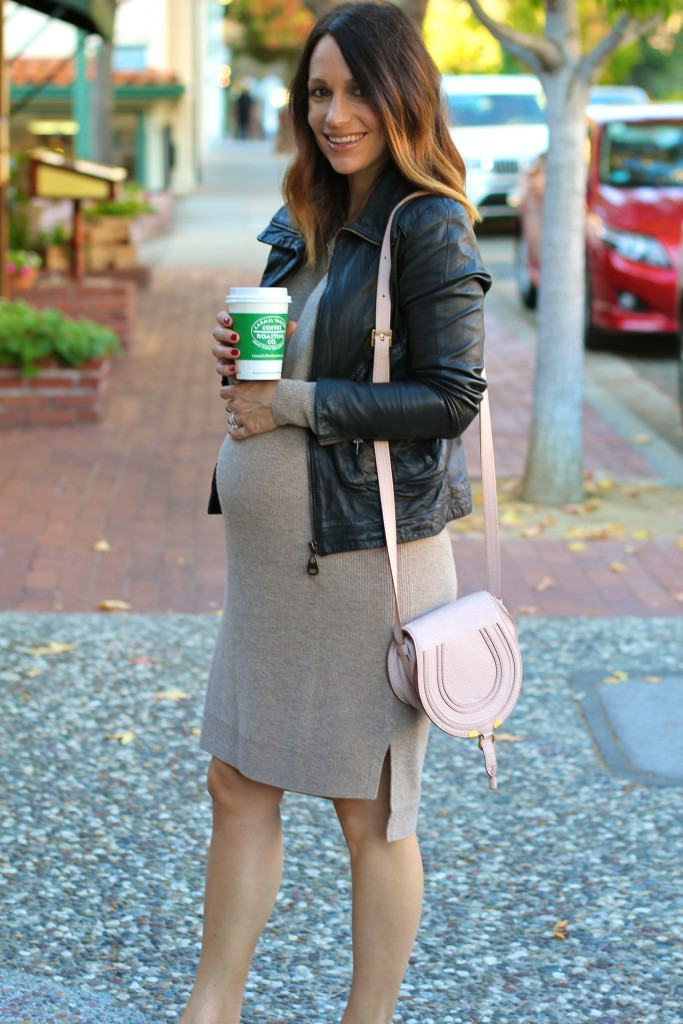 sweater dress with leather jacket, pregnancy style, itsy bitsy indulgences