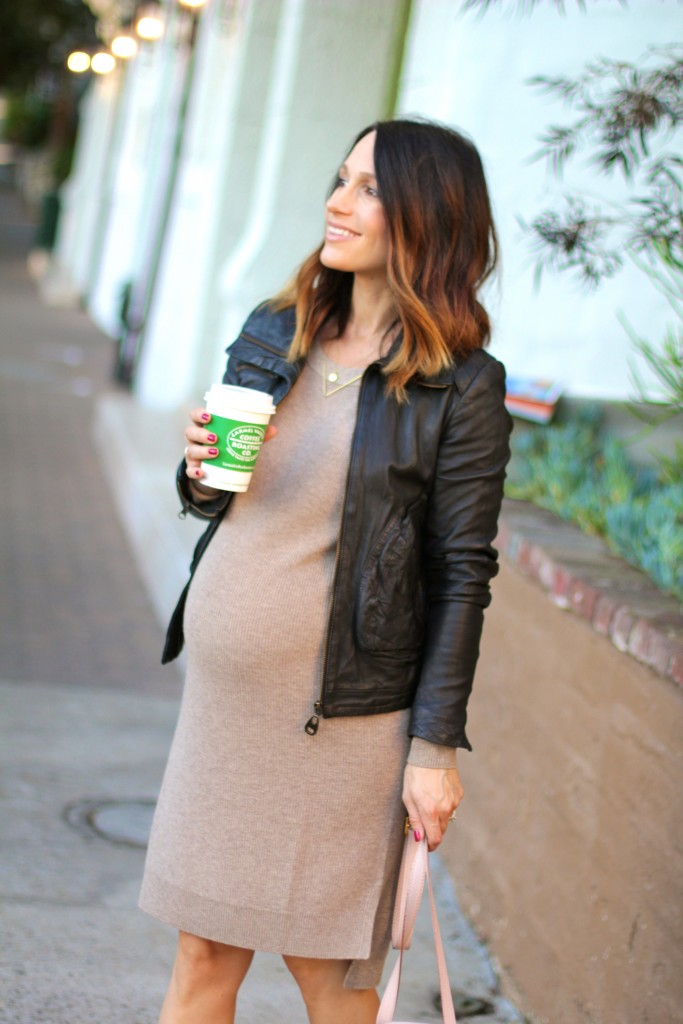 pregnancy style, sweater dress, itsy bitsy indulgences
