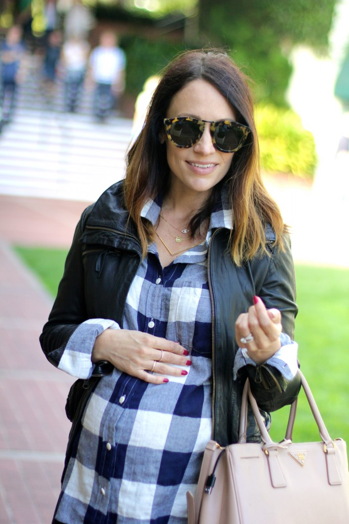 plaid and leather baby bump style, itsy bitsy indulgences