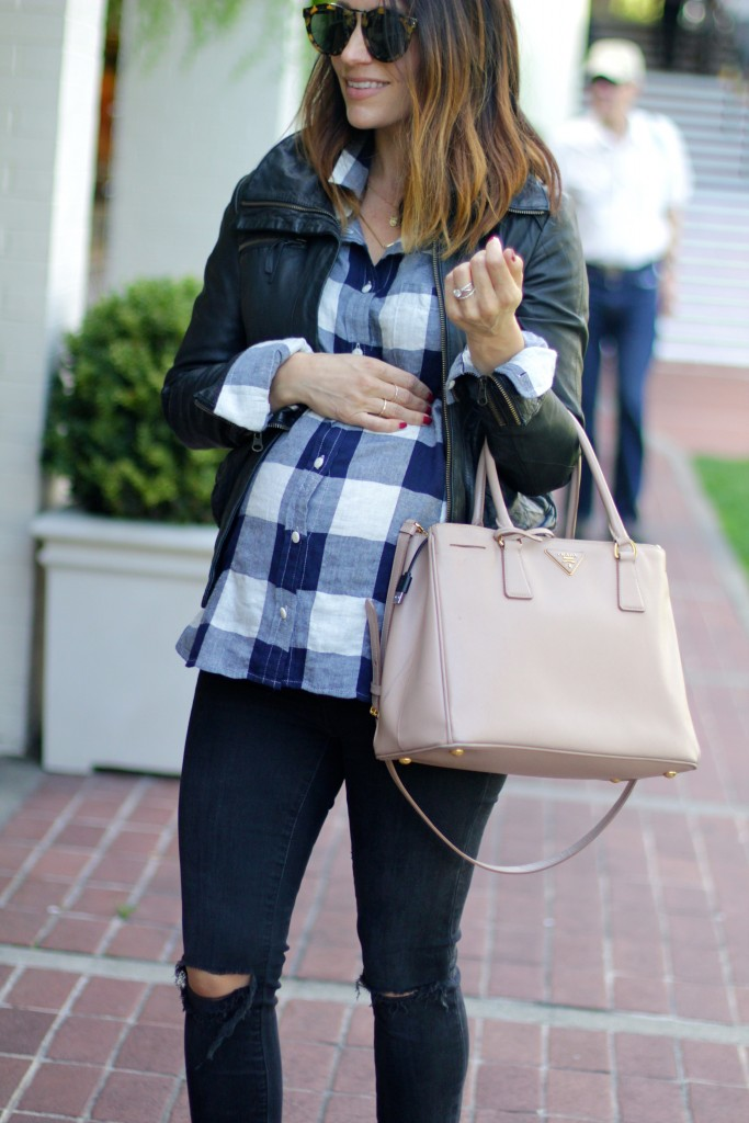 fall plaid top, baby bump, itsy bitsy indulgences