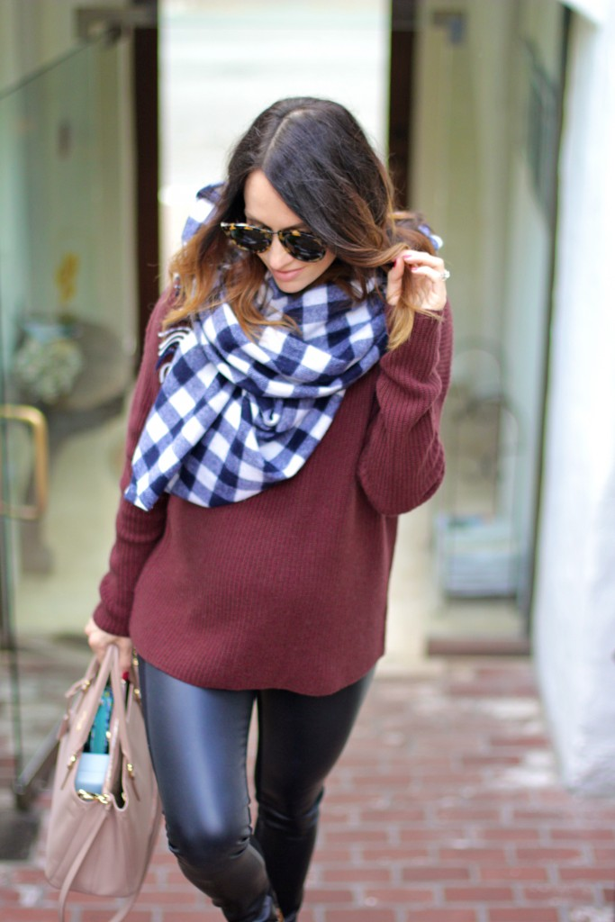 plaid scarf, burgundy oversized sweater, itsy bitsy indulgences