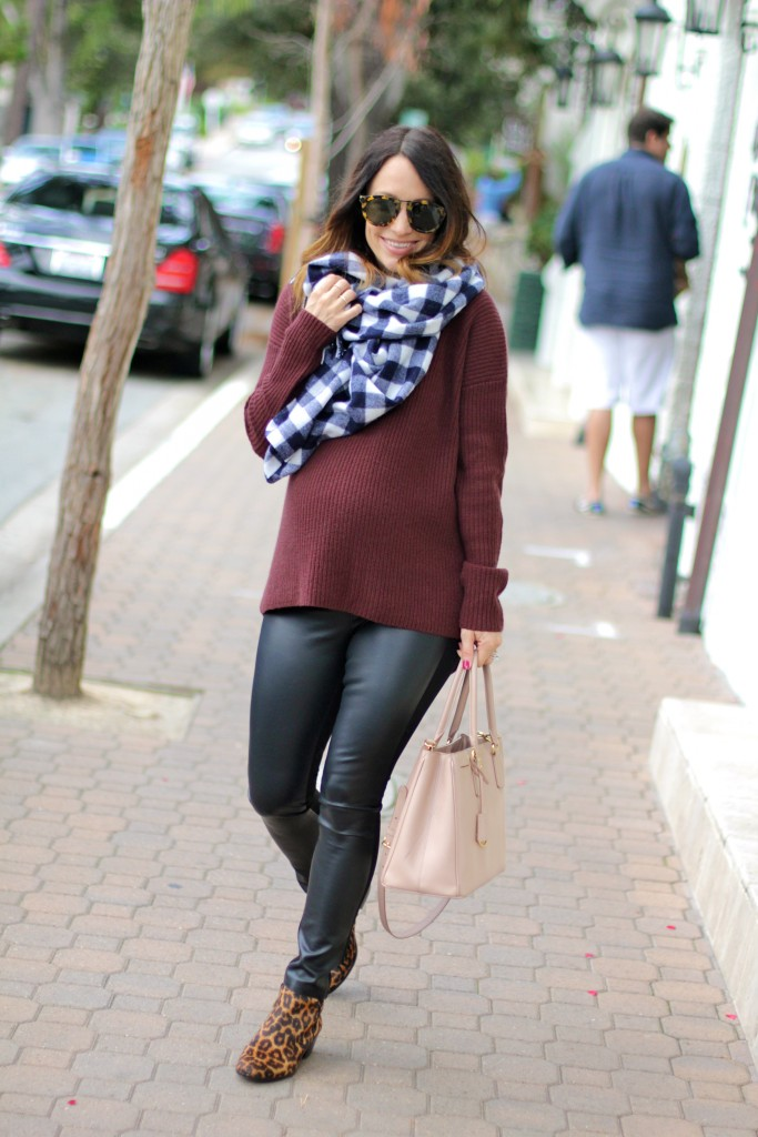 leather pants with boyfriend sweater, itsy bitsy indulgences