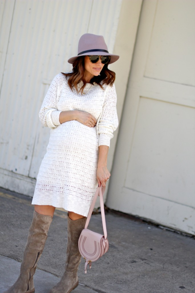 baby bump style, sweater dress, itsy bitsy indulgences