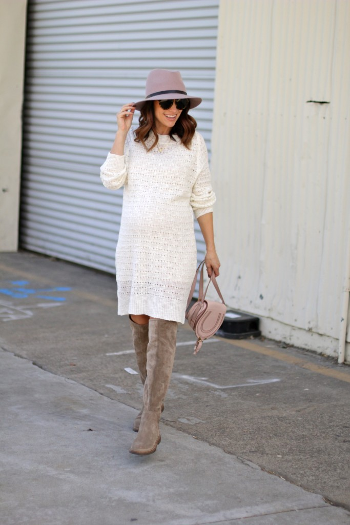 pregnancy style, fall sweater dress and over the knee boots, itsy bitsy indulgences