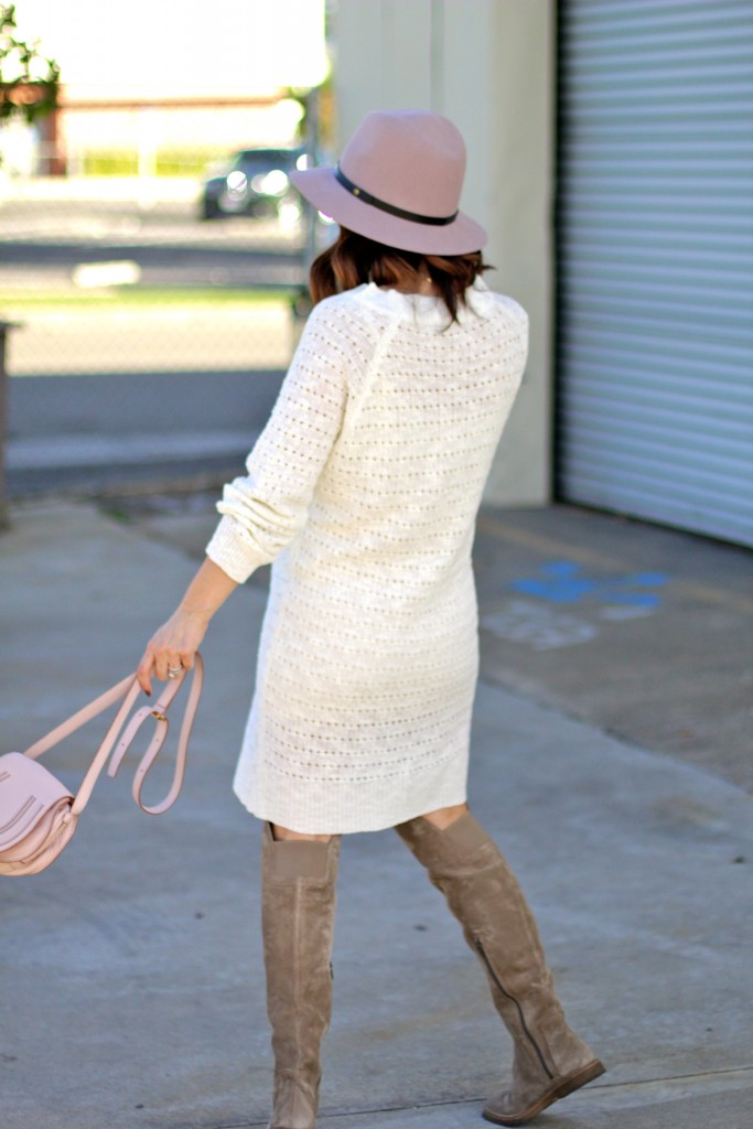 shades of cream and blush, over the knee boots, itsy bitsy indulgences