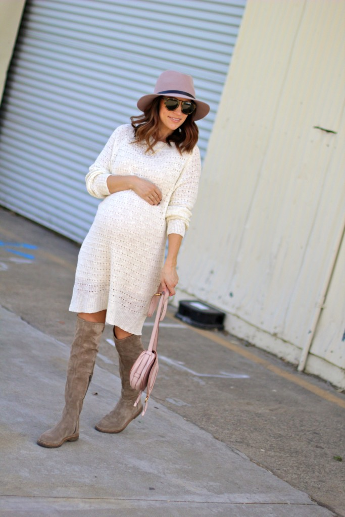 pregnancy style, cream sweater dress, itsy bitsy indulgences