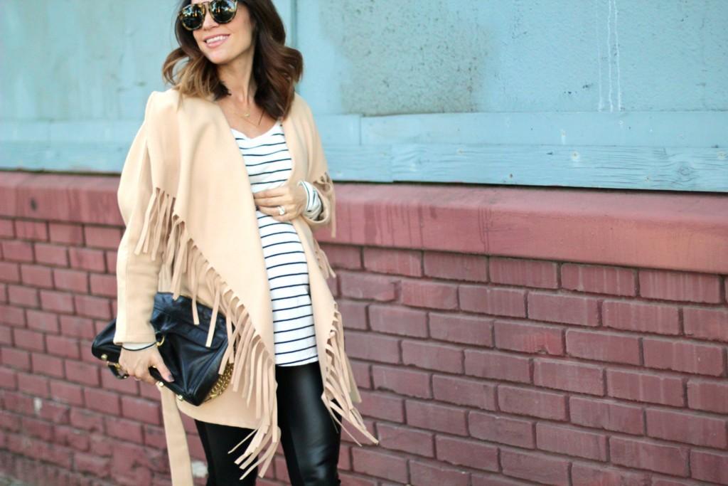 fringe coat, pregnancy style, itsy bitsy indulgences