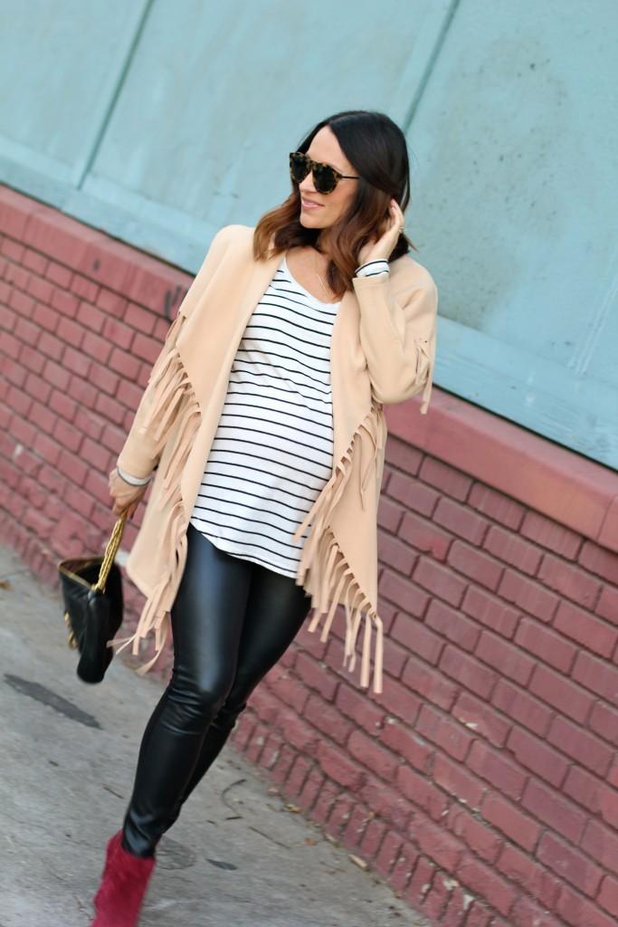 pregnancy style, fringe coat, itsy bitsy indulgences
