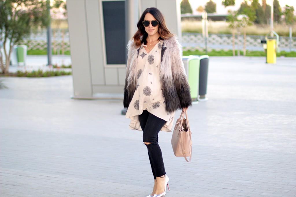 faux fur jacket, pregnancy style, itsy bitsy indulgences