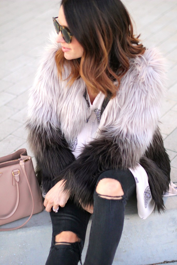 black distressed denim, faux two toned fur coat, itsy bitsy indulgences
