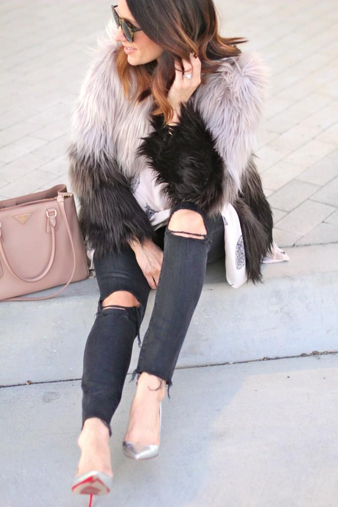 black distressed denim, faux fur coat, itsy bitsy indulgences