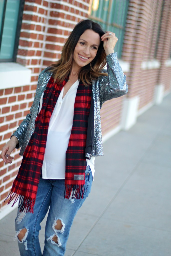 holiday dressing with plaid and sequins, pregnancy style, itsy bitsy indulgences