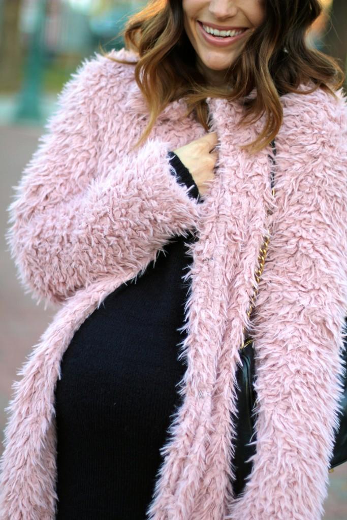 pink fuzzy coat, itsy bitsy indulgences