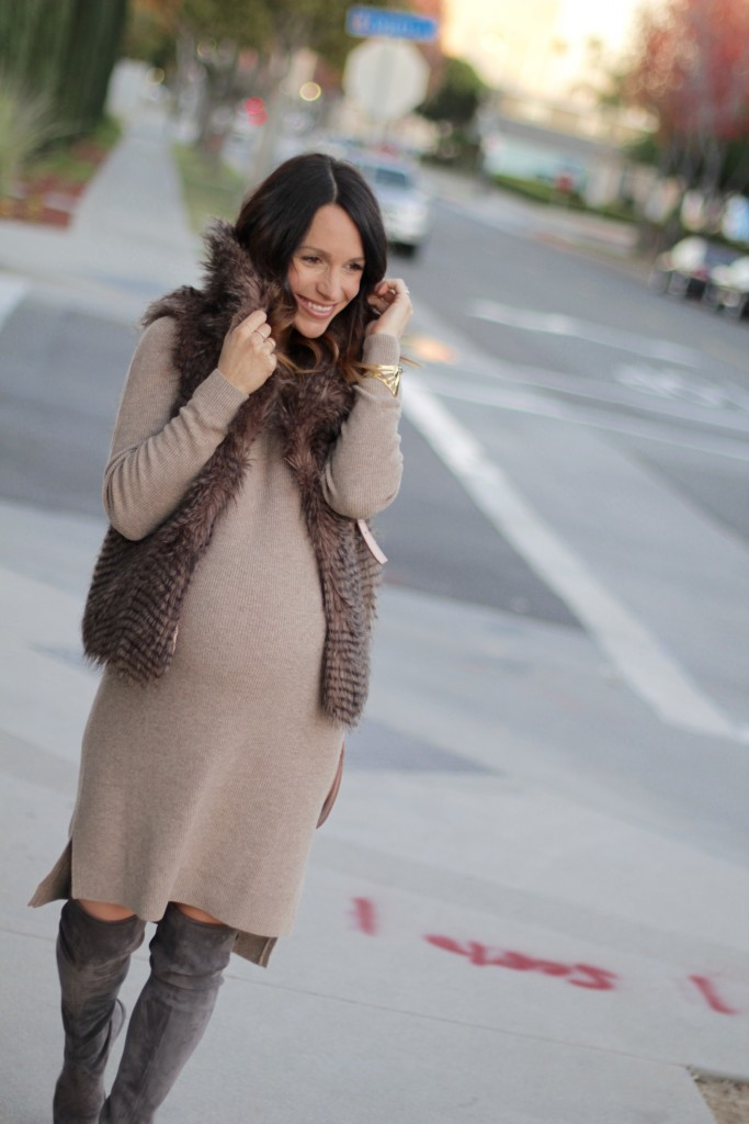 pregnancy style, faux fur vest, itsy bitsy indulgences