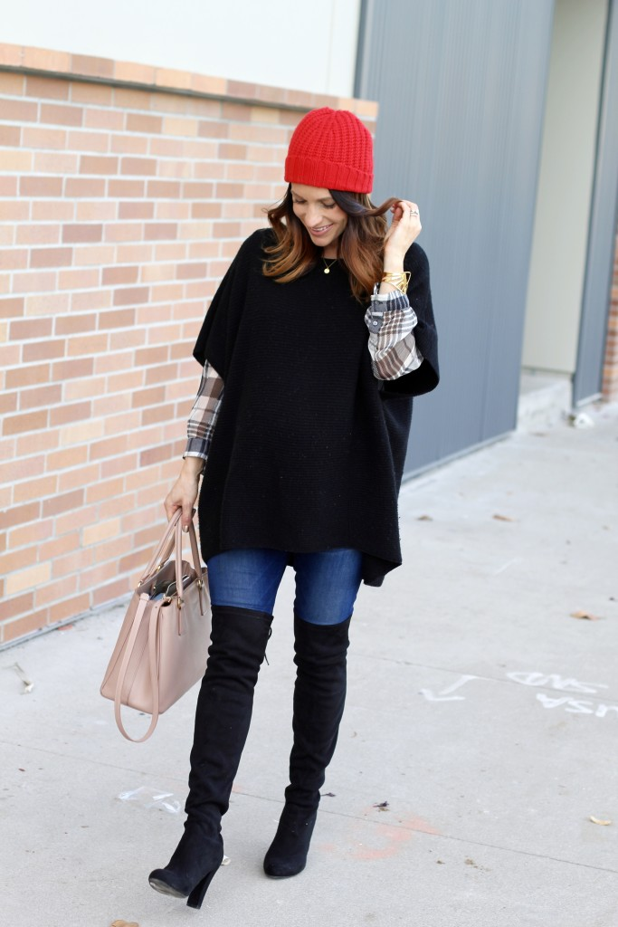 black poncho, winter casual, itsy bitsy indulgences