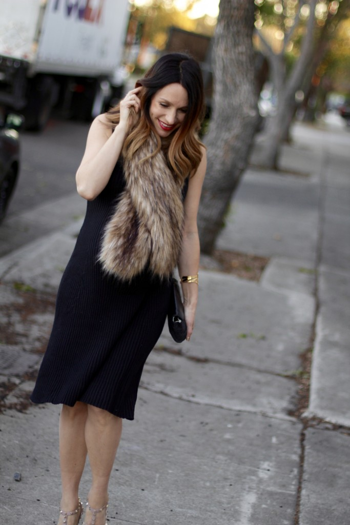 NYE pregnancy style, faux fur, itsy bitsy indulgences