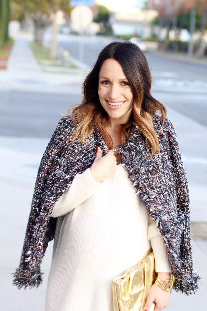 NYE look winter white, pregnancy style, itsy bitsy indulgences
