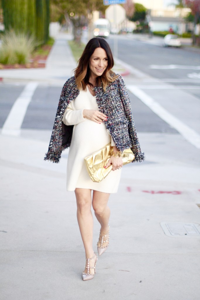 NYE baby bump style, winter white and tweed, itsy bitsy indulgences