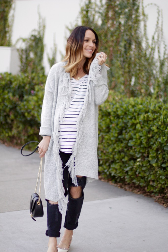 long grey cardigan, itsy bitsy indulgences