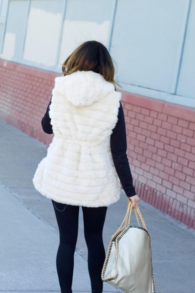 white fur vest, itsy bitsy indulgences