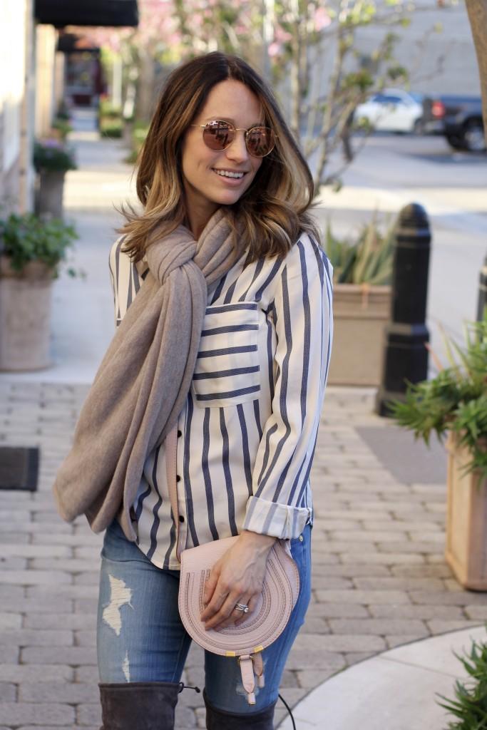 stripe top, oversized scarf, itsy bitsy indulgences