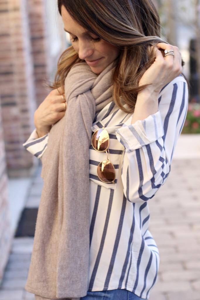 stripe top x oversized scarf, itsy bitsy indulgences