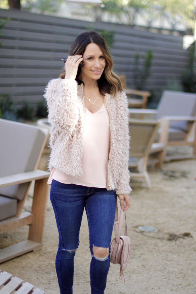 pink fur coat, wine country casual, itsy bitsy indulgences