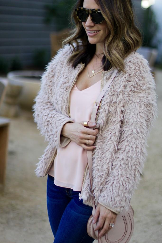 pink fur coat, itsy bitsy indulgences