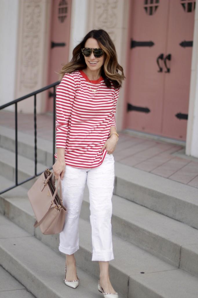 red stripe and white denim, itsy bitsy indulgences