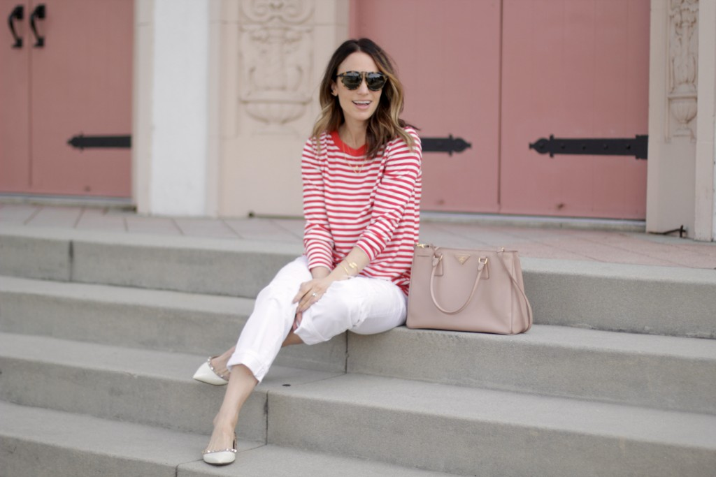 red and white stripe top, white jeans, itsy bitsy indulgences