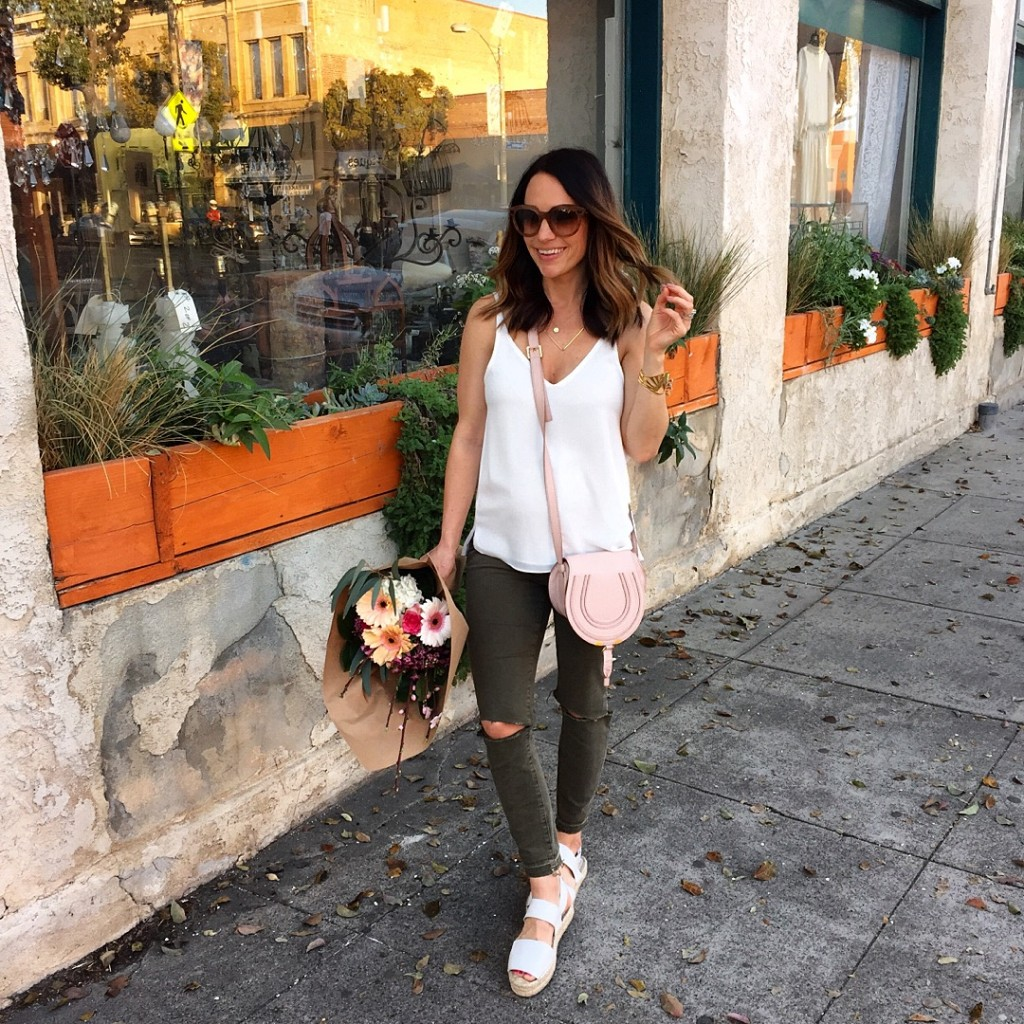 distressed olive jeans, itsy bitsy indulgences
