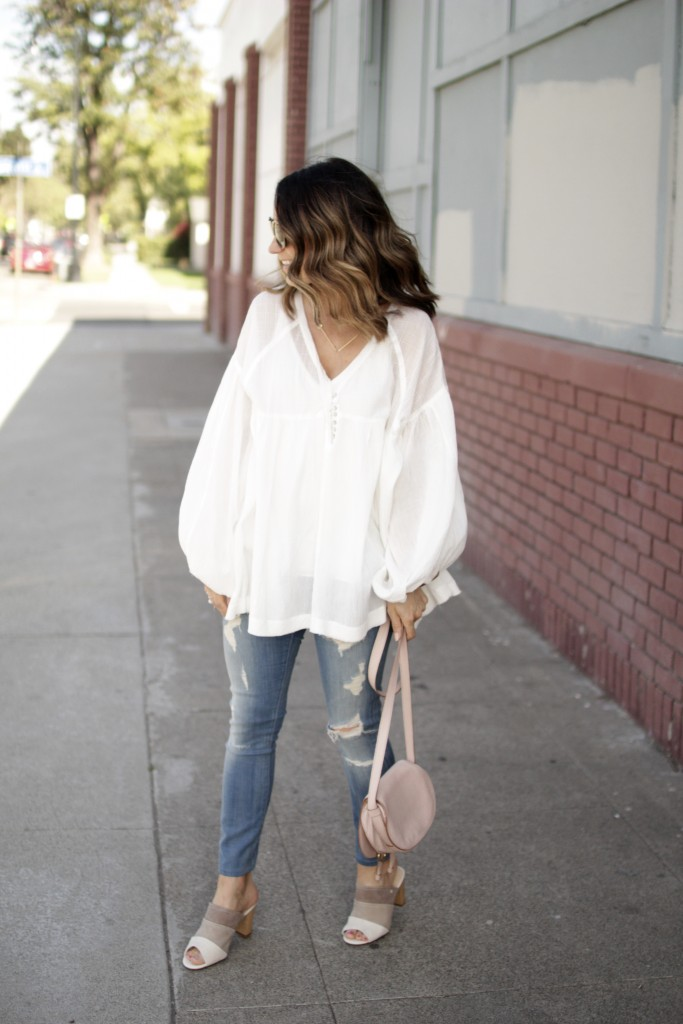 white jeans distressed top, itsy bitsy indulgences