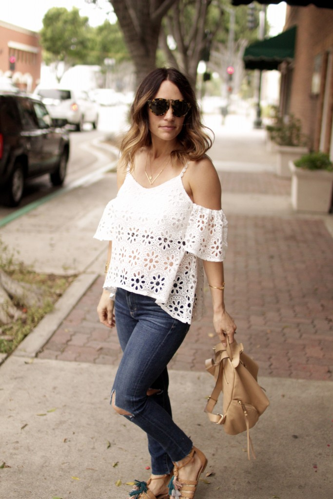 white lace off the shoulder top, itsy bitsy indulgences