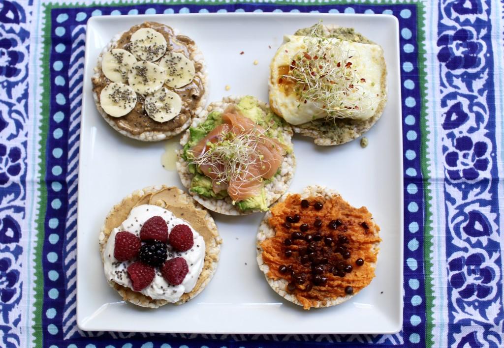 healthy rice cakes 5 ways, itsy bitsy indulgences