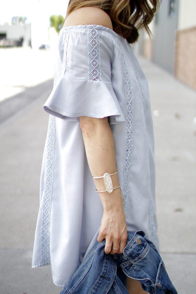 flutter sleeve off the shoulder dress, itsy bitsy indulgences