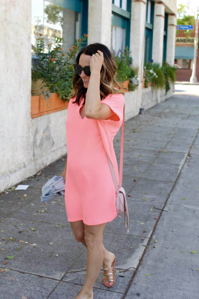 coral shirtdress, itsy busy indulgences