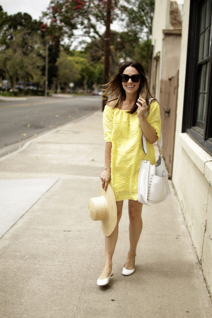 yellow off the shoulder dress, itsy bitsy indulgences