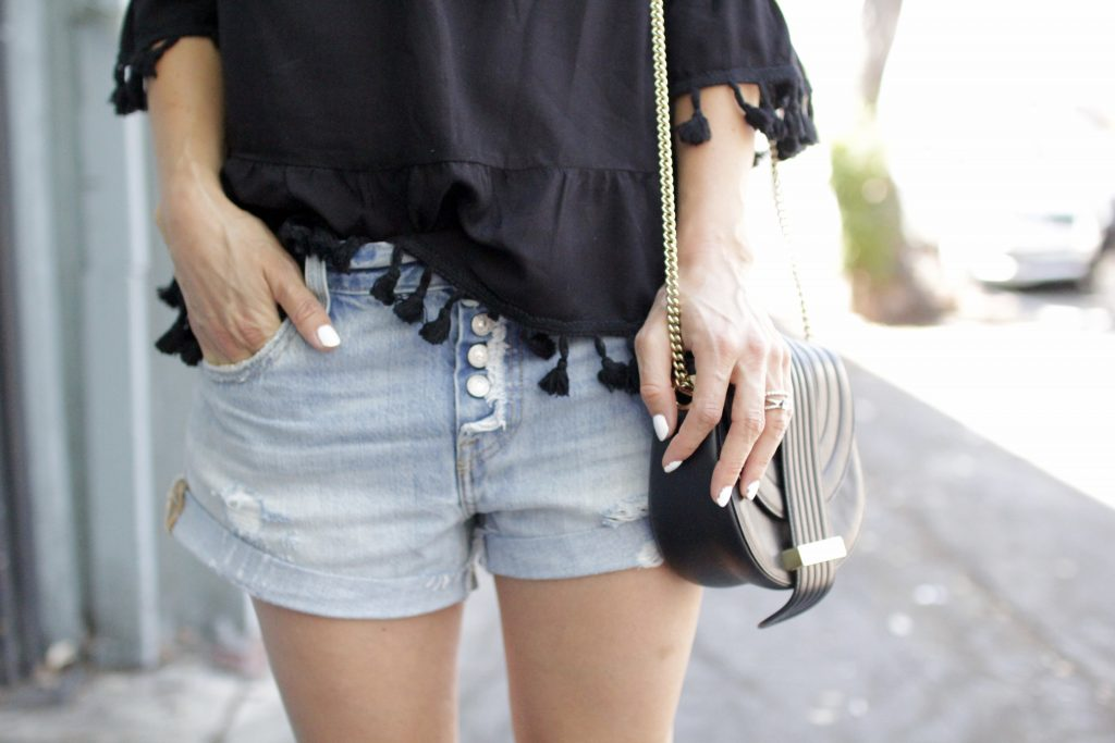 distressed denim shorts, itsy bitsy indulgences
