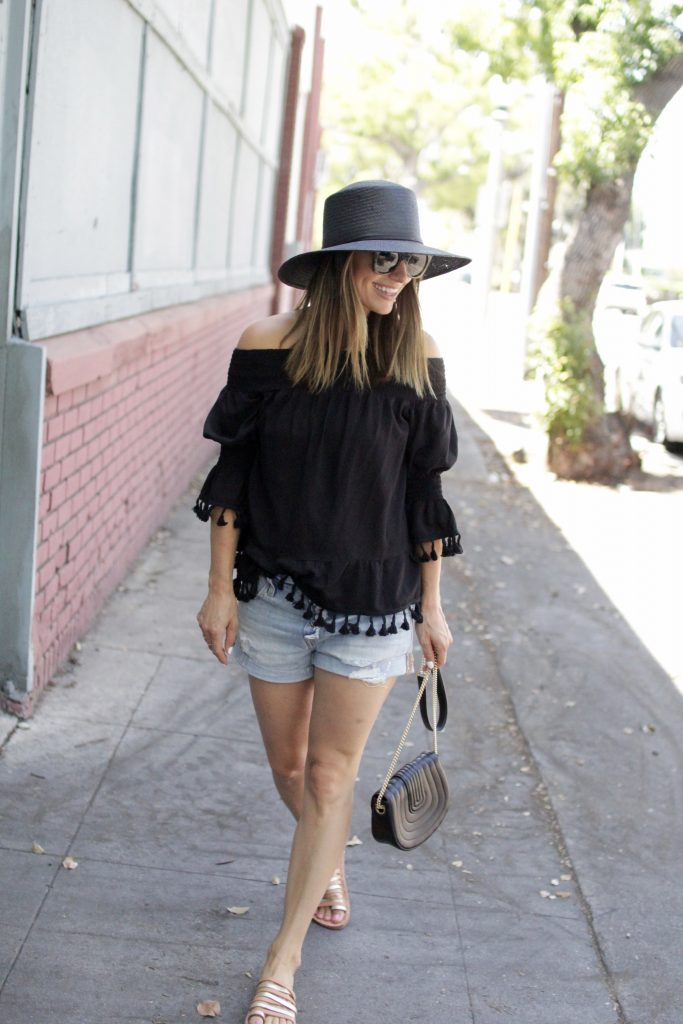 black off the shoulder top, itsy bitsy indulgences