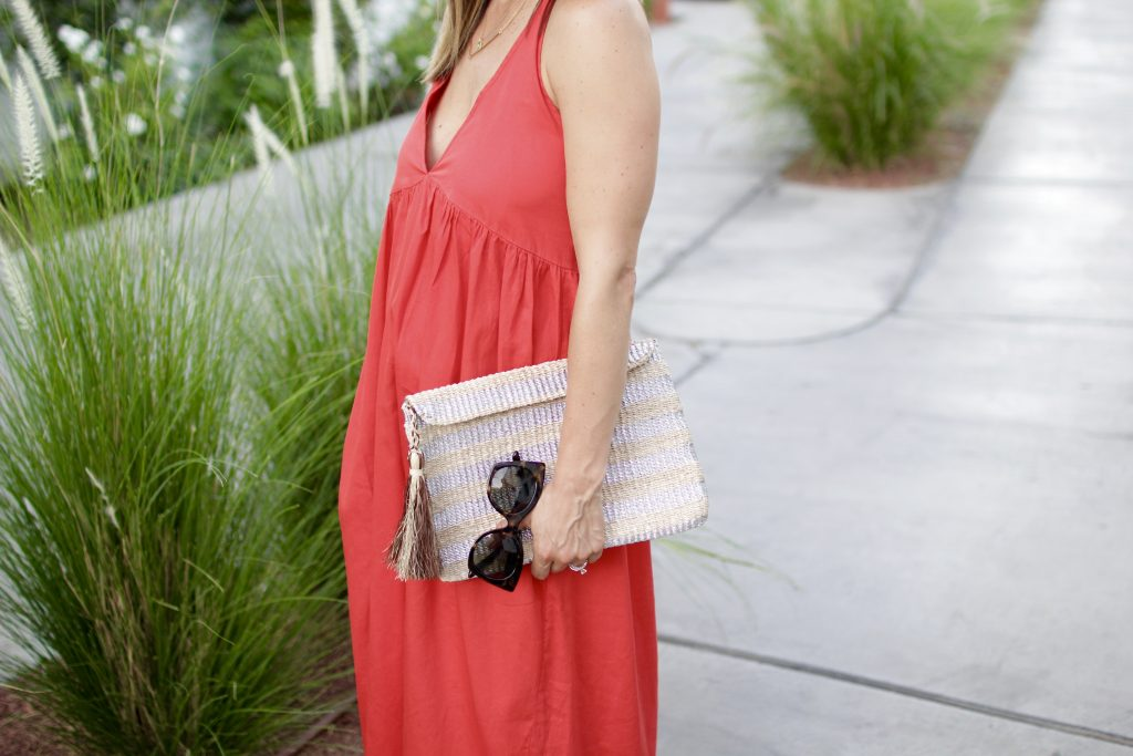 gold clutch x red dress, itsy bitsy indulgences
