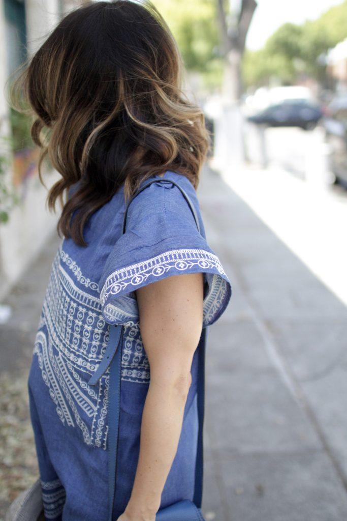 embroidered chambray dress, itsy bitsy indulgences